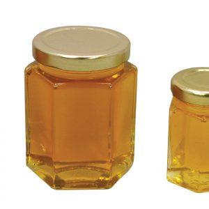 Hex Jar with Gold Metal Lid