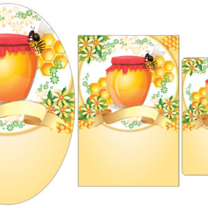 Red and Gold Honey Pot Labels