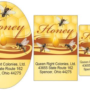 Honey Bees with Golden Drop of Honey Label