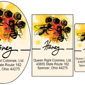 Honey Bees on Comb Label