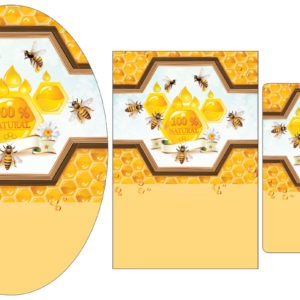 Golden Honey Droplets and Bees Label