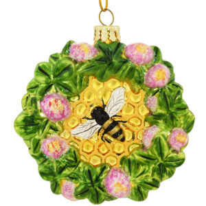 Bee Honeycomb With Clover Glass Ornament