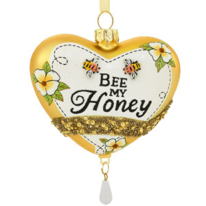 Heart With Bee My Honey Glass Ornament